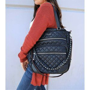 NEW Mz Wallace Crosby Large Quilted Tote in Black